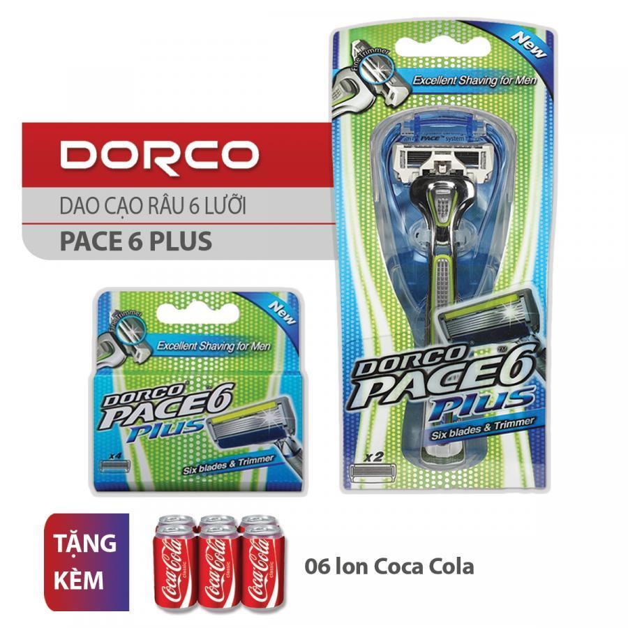 Bộ Dao Cạo Và Vỉ 04 Đầu Cạo Râu 6 Lưỡi Dorco Pace 6 Plus + Tặng 06 lon Coca Cola