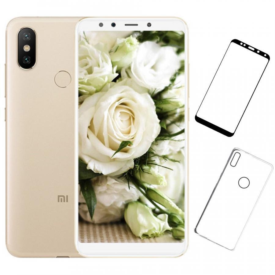 Bộ Điện thoại Xiaomi Mi 6X (32GB/4GB) (Vàng) + Dán cường lực 5D full màn (Trắng) + Ốp lưng - Hàng nhập khẩu