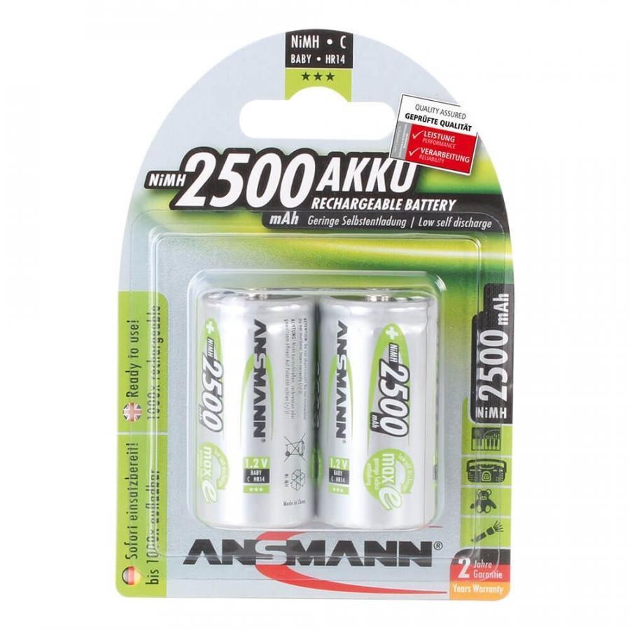 Pin trung sạc ANSMANN C2500 - (Baby C) vỉ 2 viên