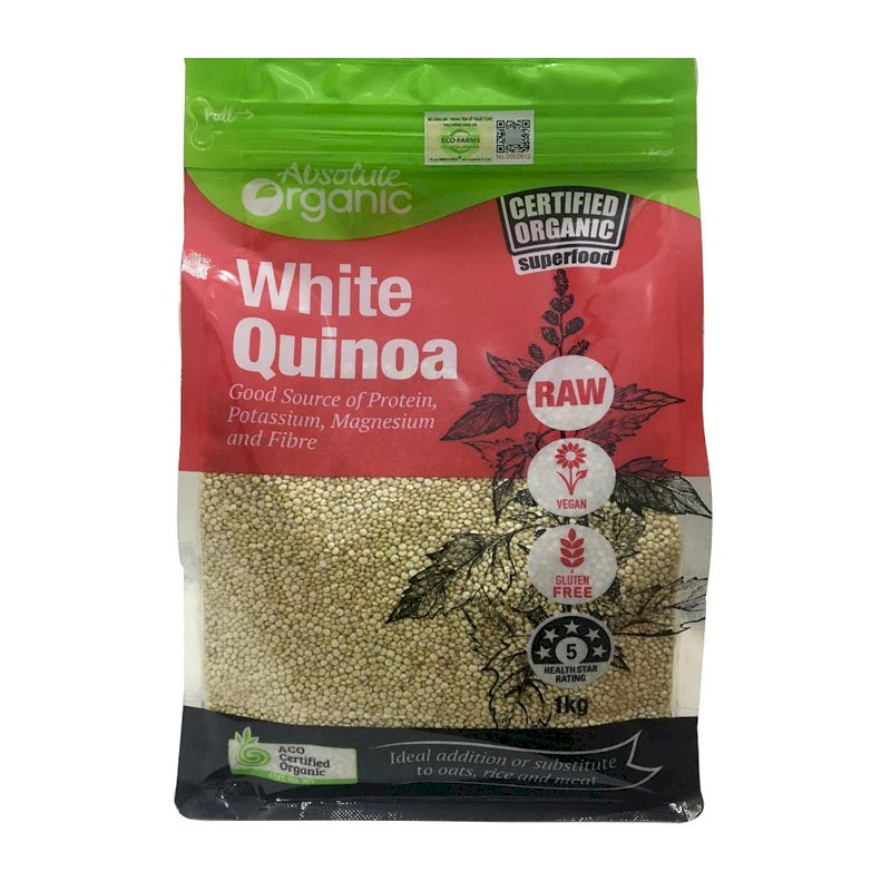 Hạt Diêm Mạch Hữu Cơ Úc Absolute Organic (Quinoa seed Túi 1kg)