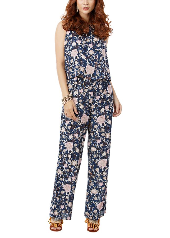 Jumpsuit Floral Md'M MD27252001-NV - Xanh