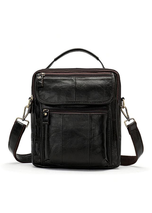 Túi da đeo chéo nam da bò BHM8870 màu Nâu Đen