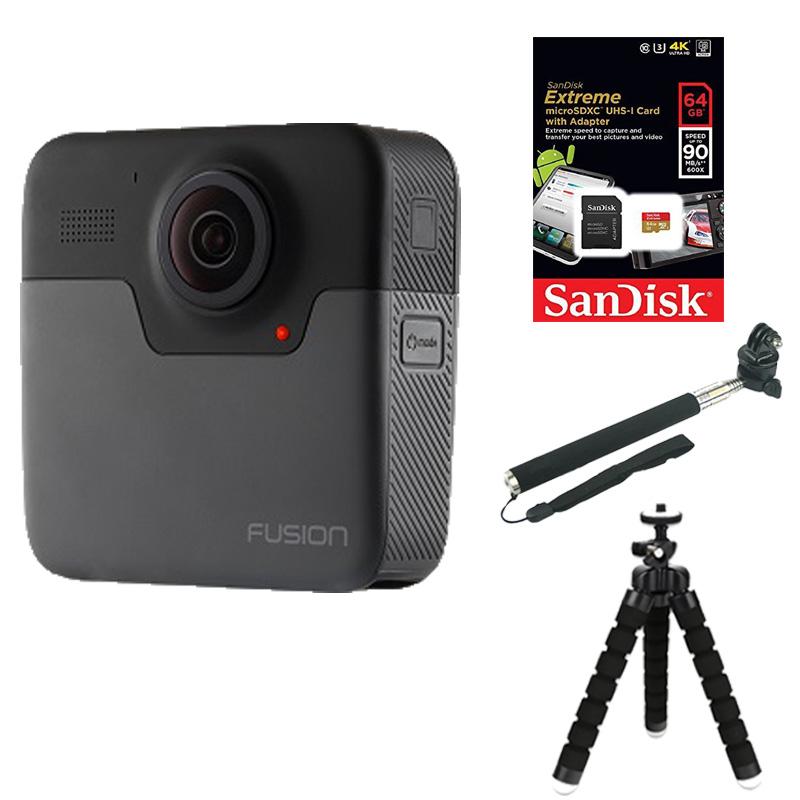 Combo GoPro Fusion + Thẻ nhớ 64G + Gậy cầm tay + Mount + Chân bạch tuộc mini