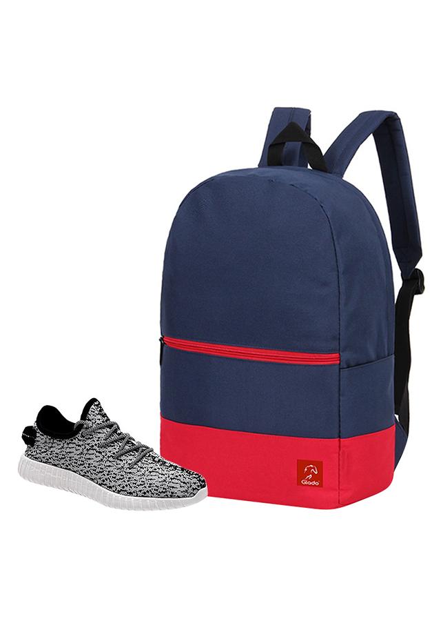 Combo Balo Glado Classical BLL007BU - Xanh Đen + Giày Sneaker GS011WH - Xám