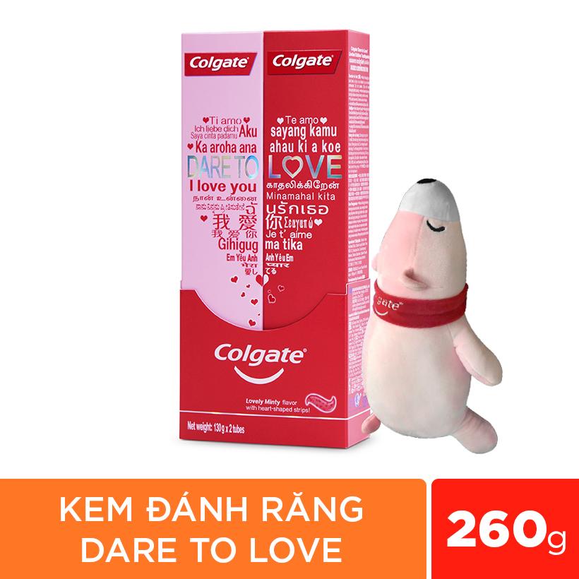 Combo 2 Kem Đánh Răng Colgate Dare To Love 260g Phiên Bản Giới Hạn Và Gấu Tình Yêu Giao Mẫu Ngẫu Nhiên (43cm)