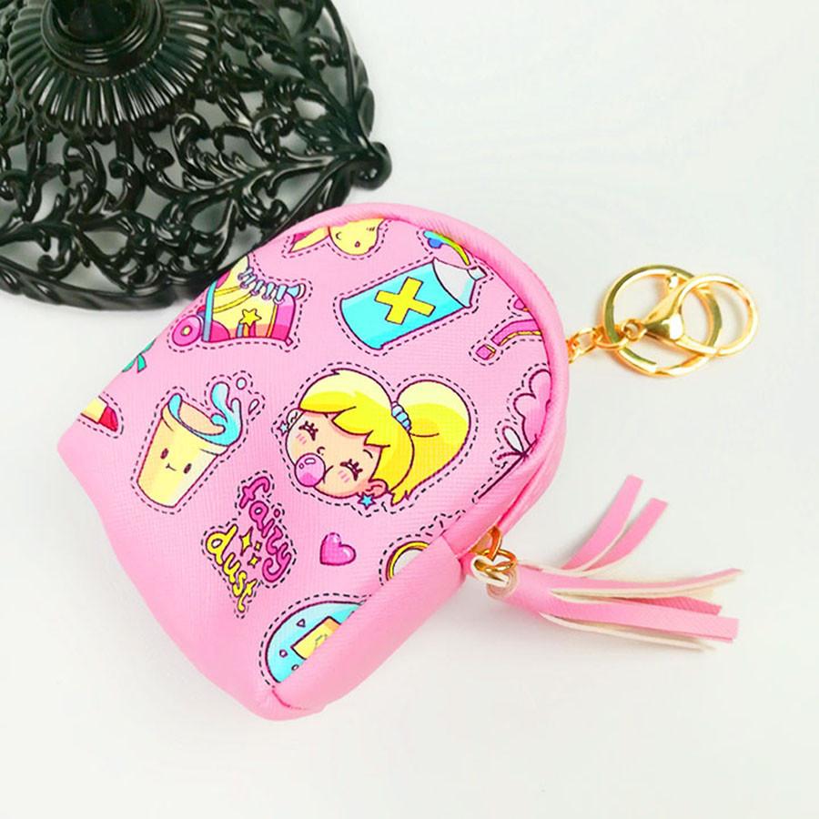 Móc khóa túi ví balo mini da PU - búp bê màu hồng