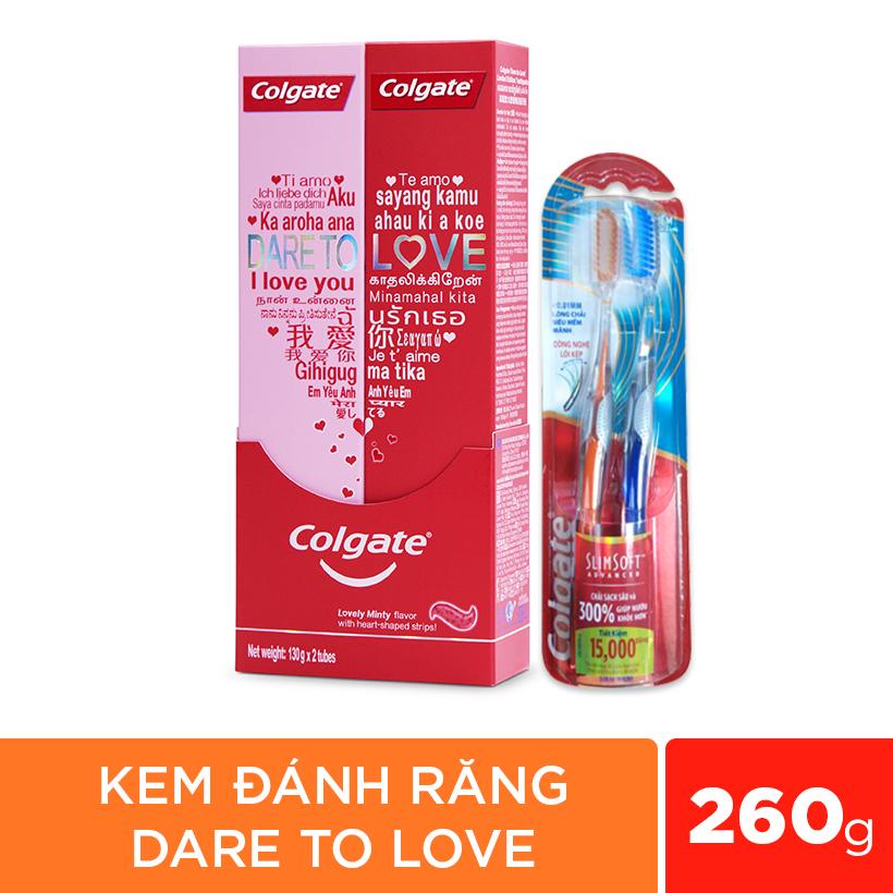 Combo Bộ đôi Kem đánh răng Colgate Dare To Love 260g Phiên bản Giới hạn Và Bàn chải SlimSoft Advanced cho cặp đôi