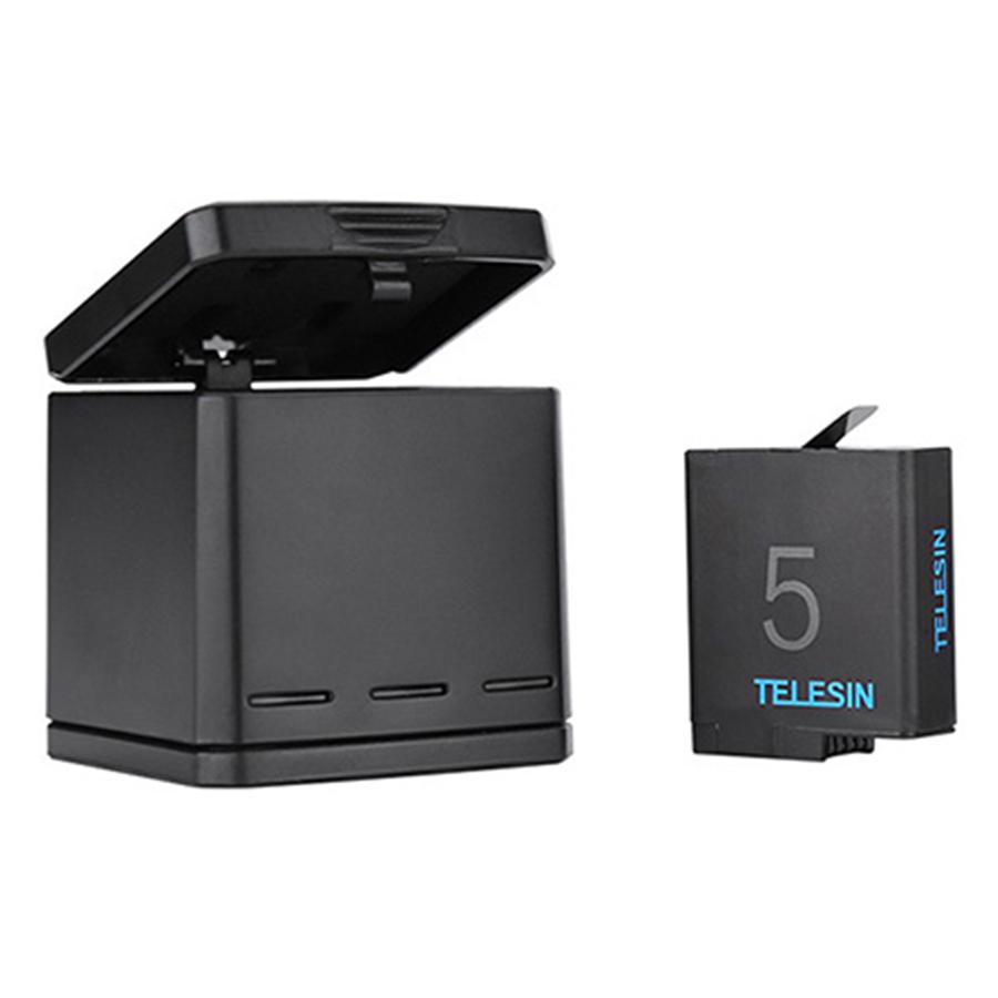 Pin Dành Cho Camera Gopro 5 / Gopro 6 Telesin ( 1 Dock Sạc +  2 Viên Pin)