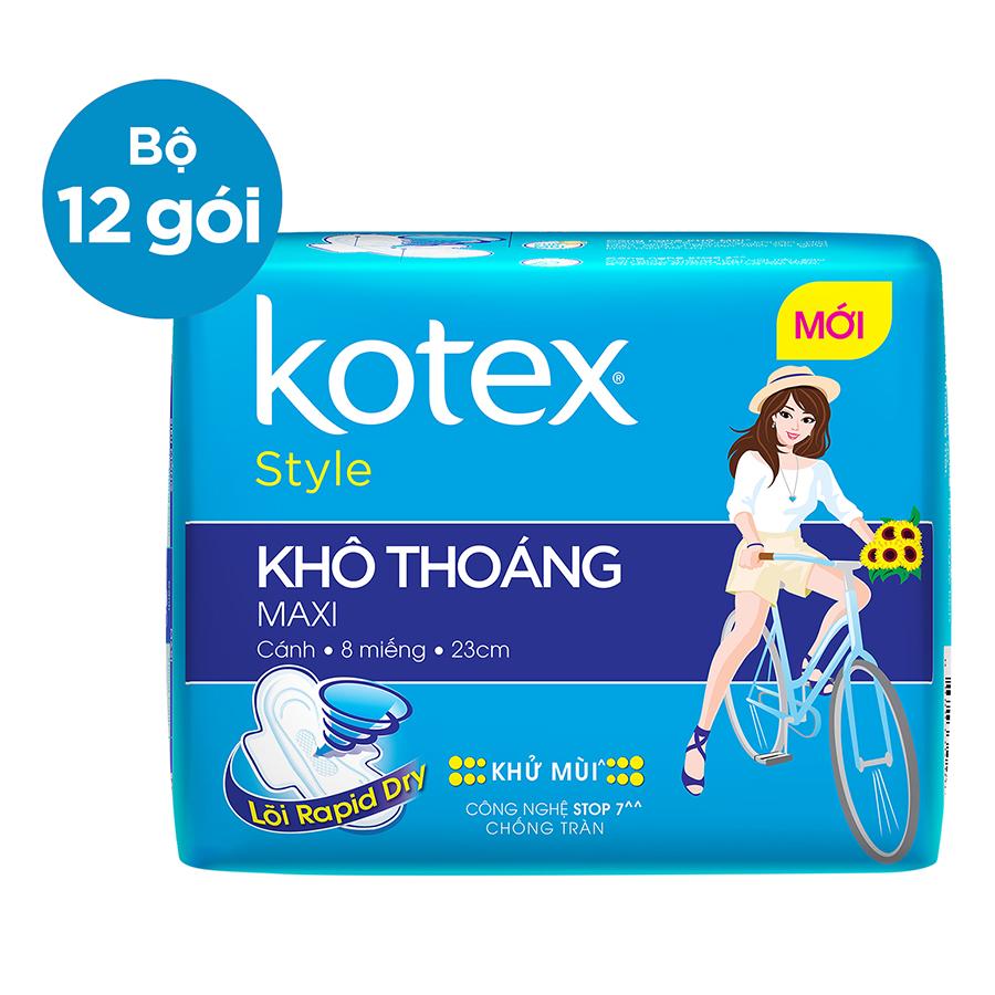 Bộ 12 Gói Băng Vệ Sinh Kotex Style LST Maxi Cánh (8 Miếng / Gói)