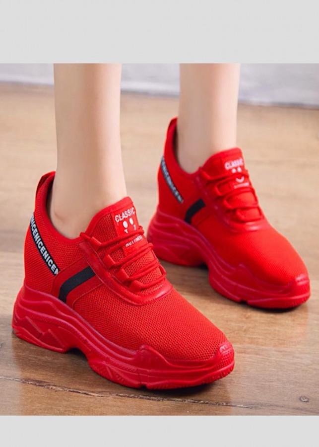 Giày thể thao nữ độn 10p siêu mềm siêu nhẹ màu đỏ