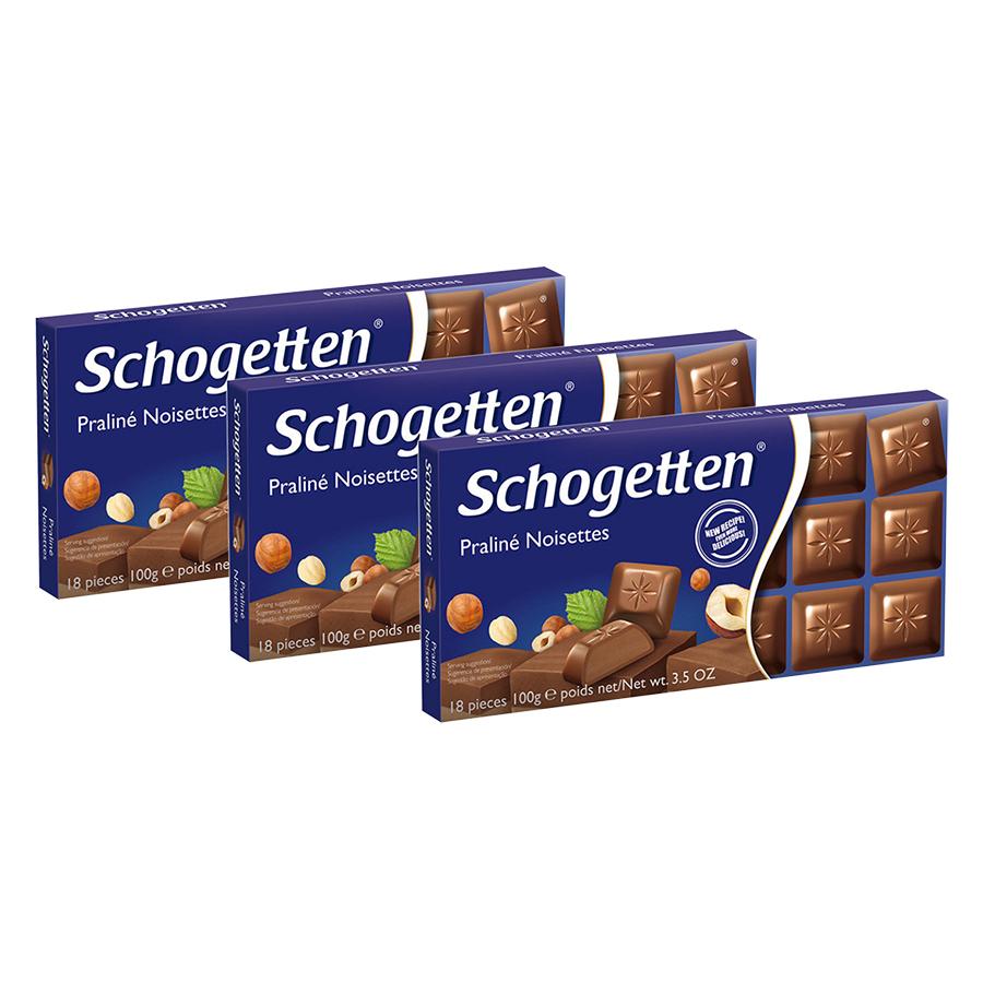 Combo 3 Thanh Sôcôla Ludwig Schokolade 13 Vị Schogetten - Praline Noisettes (100g)