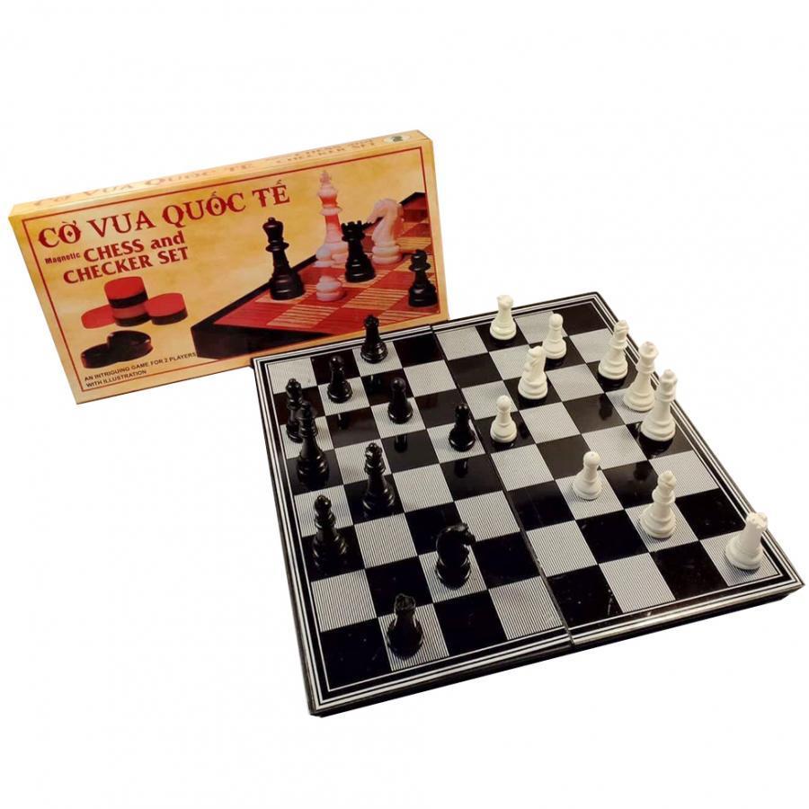 Bộ cờ vua nam châm 31cm x 31cm hộp vàng bàn đen trắng