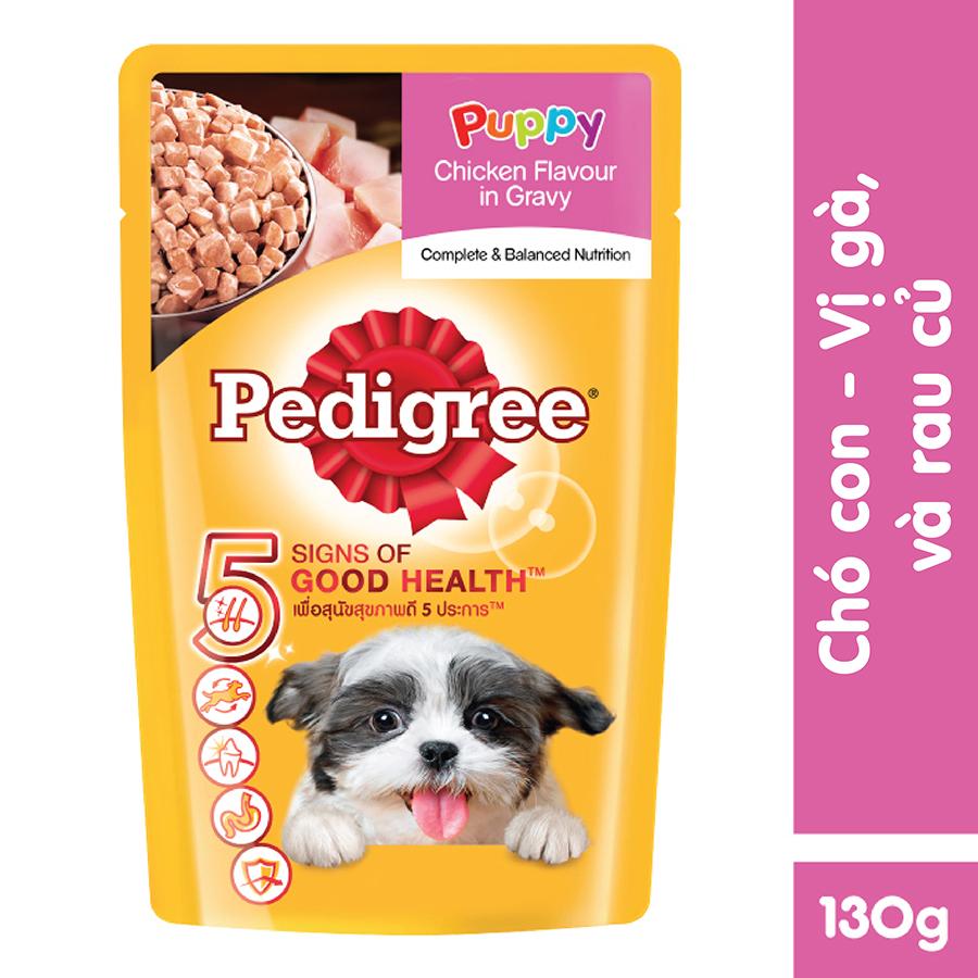 Đồ Ăn Cho Chó Con Pedigree Vị Gà Nấu Sốt 130g