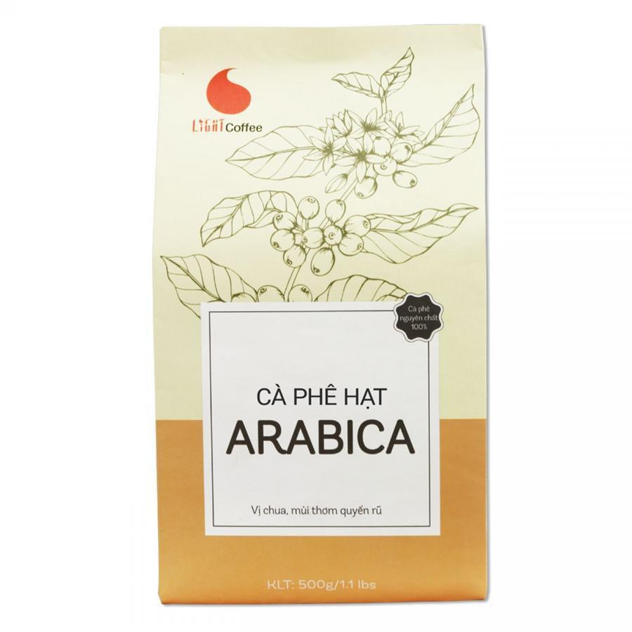 Cà Phê Arabica Dạng Hạt Để Pha Máy Light Coffee (500g)