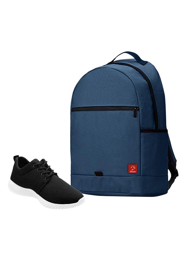 Combo Balo Glado Classical BLL006BU - Xanh Đen + Giày Sneaker GS062BA - Đen