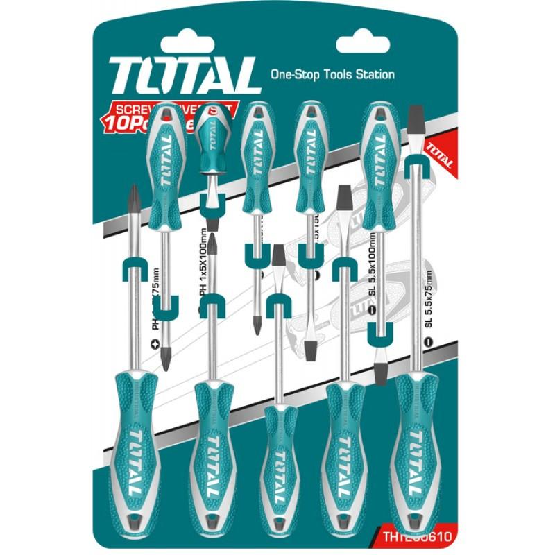 Bộ 10 chi tiết tuốt nơ vít (tô vít) Total THT250610