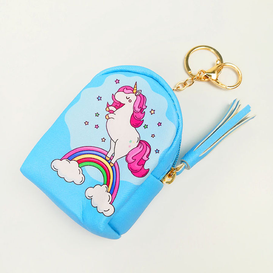 Móc khóa túi ví balo mini da PU - ngựa màu xanh biển