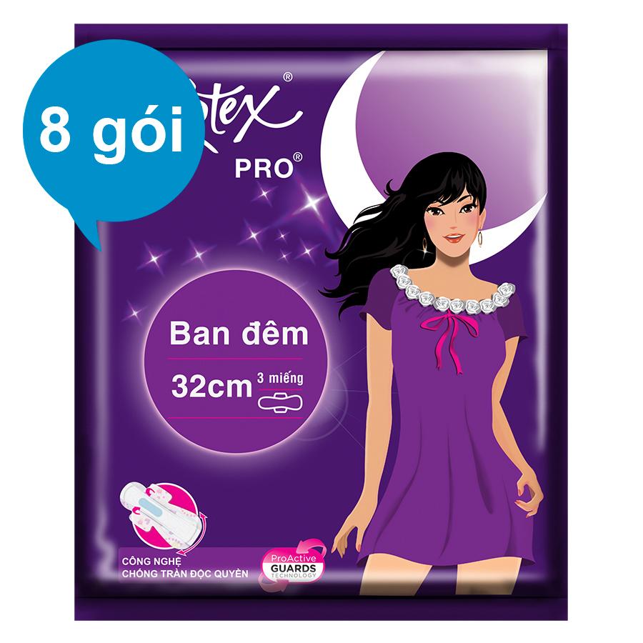 Combo 8 Gói Băng Vệ Sinh Kotex Pro Siêu Mỏng Ban Đêm