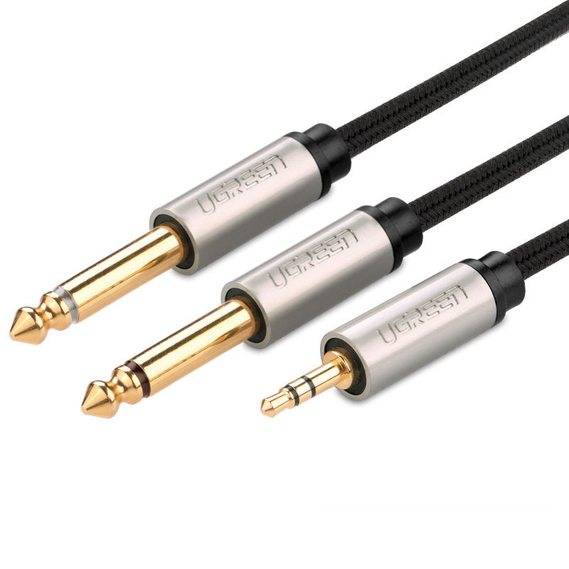 Cáp âm thanh 3.5mm ra 2 đầu 6.5mm mạ vàng 24k dài 1M UGREEN AV126 40790 (10613) - Hãng phân phối chính thức