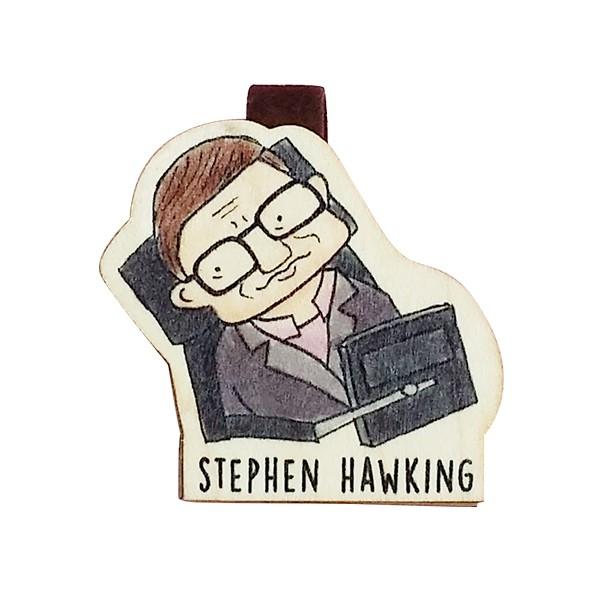 Bookmark gỗ nam châm Stephen Hawking