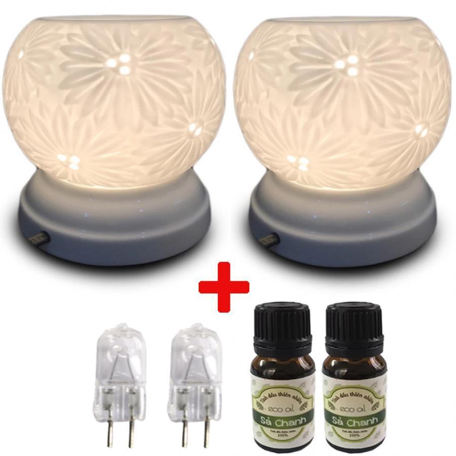 Combo 2 đèn xông tinh dầu MNB21 kèm 2 tinh dầu sả chanh Eco 10ml và 2 bóng đèn