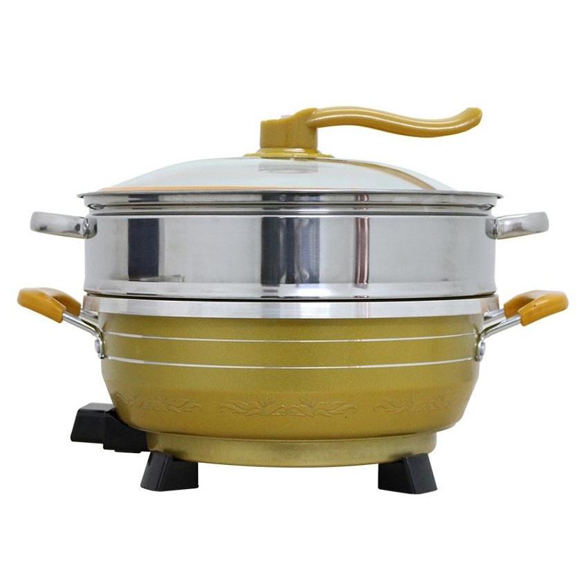 Chảo lẩu điện đa năng  L299 - 6L Vàng đi kèm khuôn làm bánh cuốn