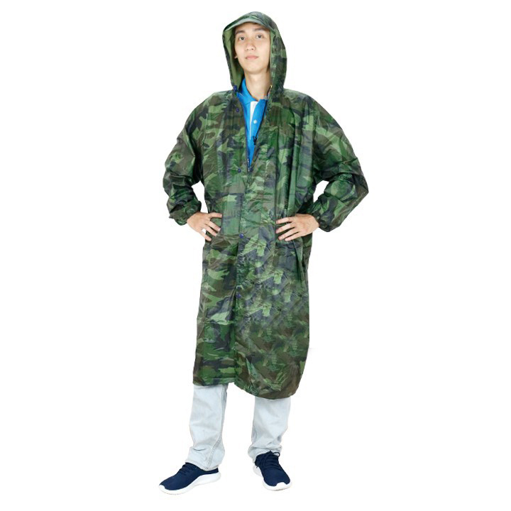 Áo mưa dây kéo vải dù lính cao cấp