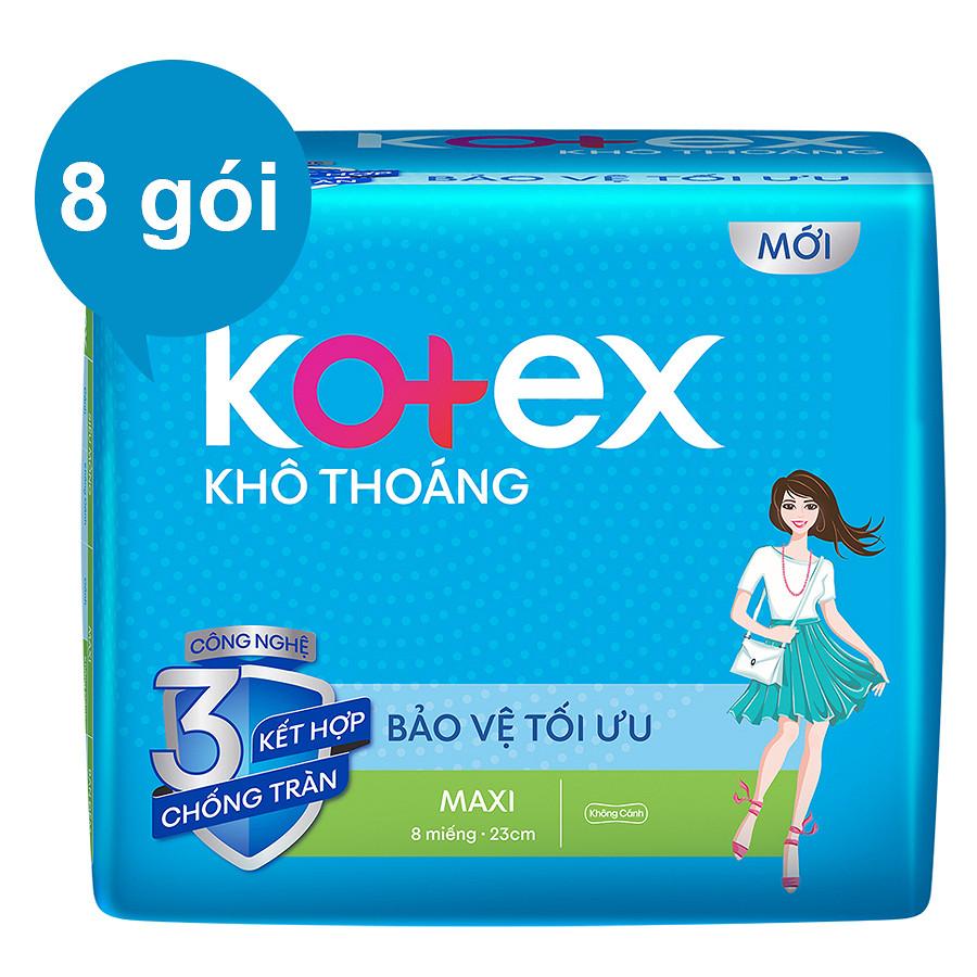 Combo 8 Gói Băng Vệ Sinh Kotex Khô Thoáng LST Maxi Không Cánh (8 Miếng / Gói)