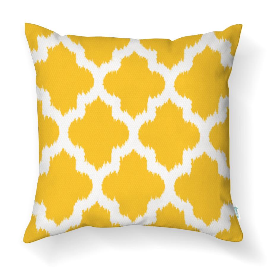 Gối Tựa Lưng Sofa LOVIN Họa Tiết Ikat Vàng Gv1127 Vải Cao Cấp