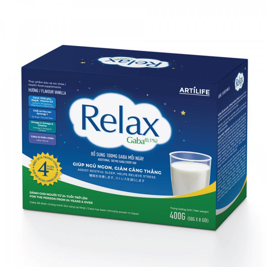 Relax Gaba Hương Vani Hộp Giấy 400g (50g x 8 Gói) Hỗ Trợ Giúp Ngủ Ngon Giảm Căng Thẳng