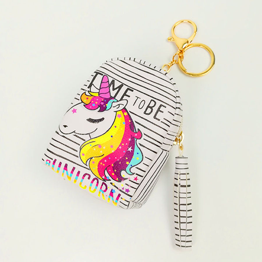 Móc khóa túi ví balo mini da PU - ngựa trắng sọc đen