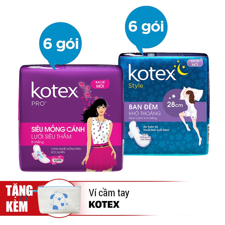 Bộ 12 Gói Băng Vệ Sinh Kotex: 6 Pro + 6 Style Ban Đêm - Tặng Ví Cầm Tay