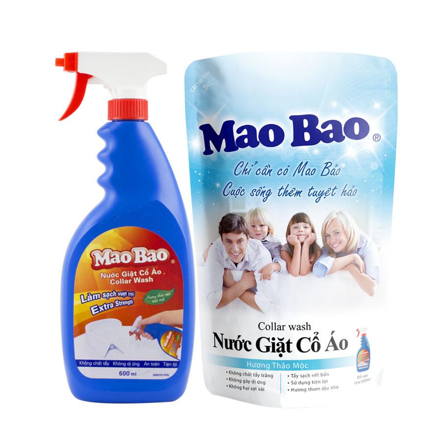 Combo 01 Chai nước giặt cổ áo Mao Bao hương thảo mộc 600ml + 01 Túi nước giặt cổ áo Mao Bao 600ml