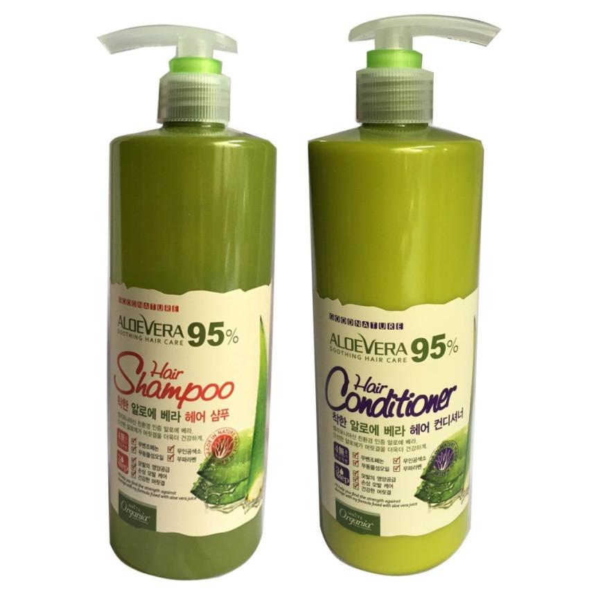 Bộ Dầu gội và Dầu xả Siêu mượt dành cho tóc hư tổn Organia WHITE GOOD NATURE ALOE VERA 500g