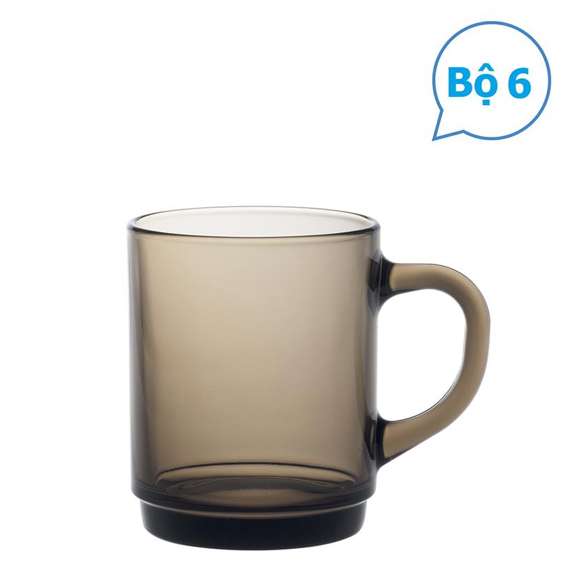 Bộ 06 ly có quai thủy tinh chịu lực Duralex nâu khói 260 ml