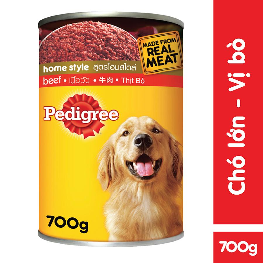 Đồ Ăn Cho Chó Lớn Pedigree Vị Bò Lon 700g