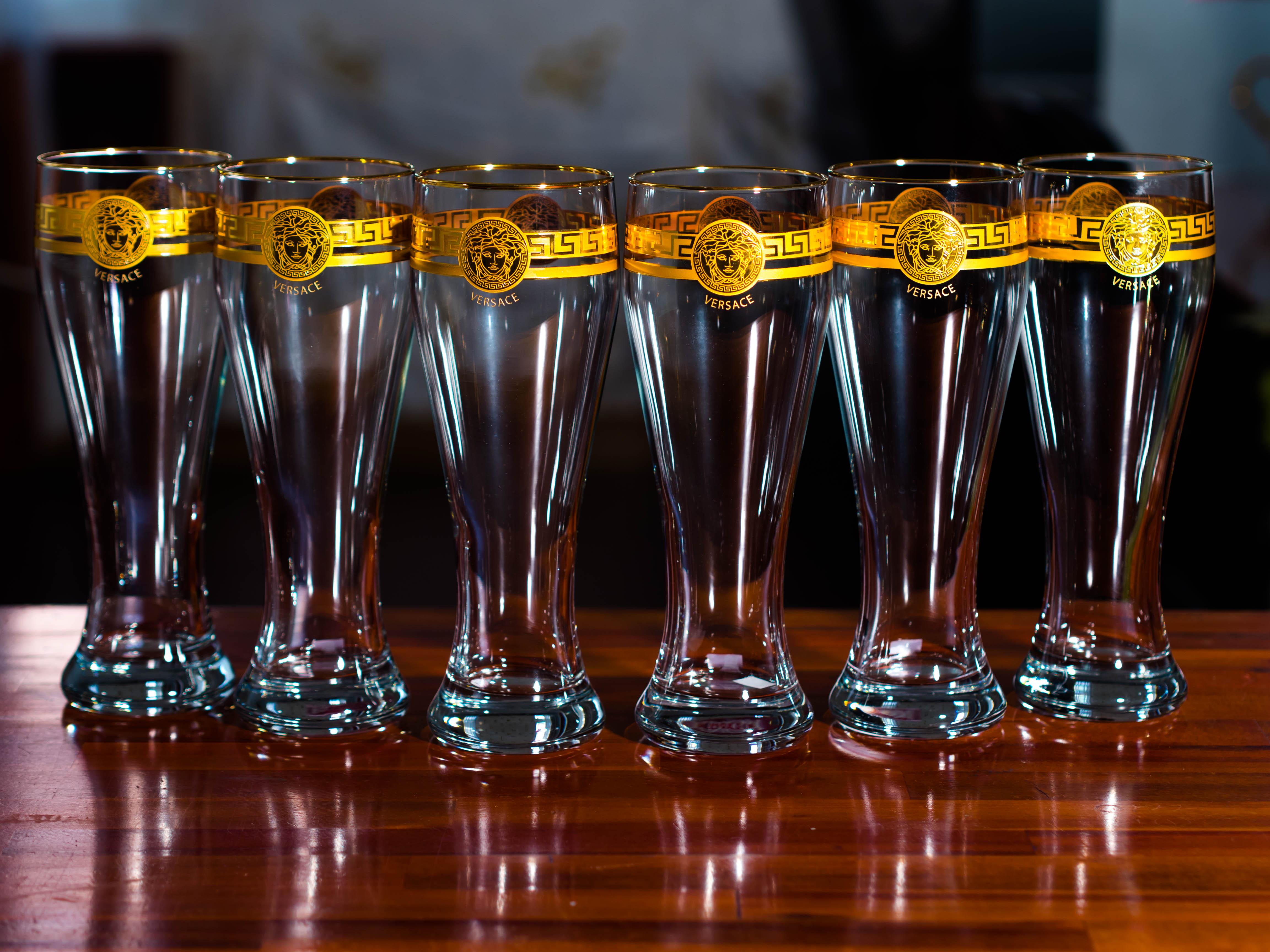 Bộ 6 Ly Uống Bia Pha Lê Mạ Vàng 500ml Họa Tiết Versacee
