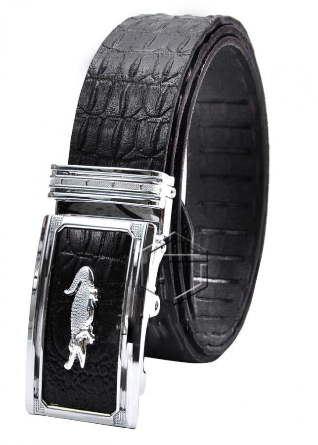 Thắt Lưng Da Bò Vân Cá Sấu AT Leather VCS - AT02 - Đen
