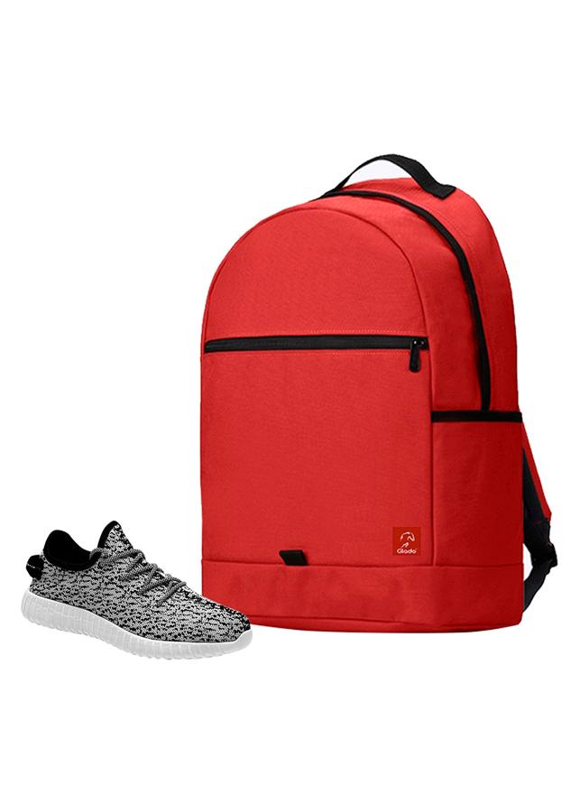 Combo Balo Glado Classical BLL006RE - Đỏ + Giày Sneaker GS011WH - Xám