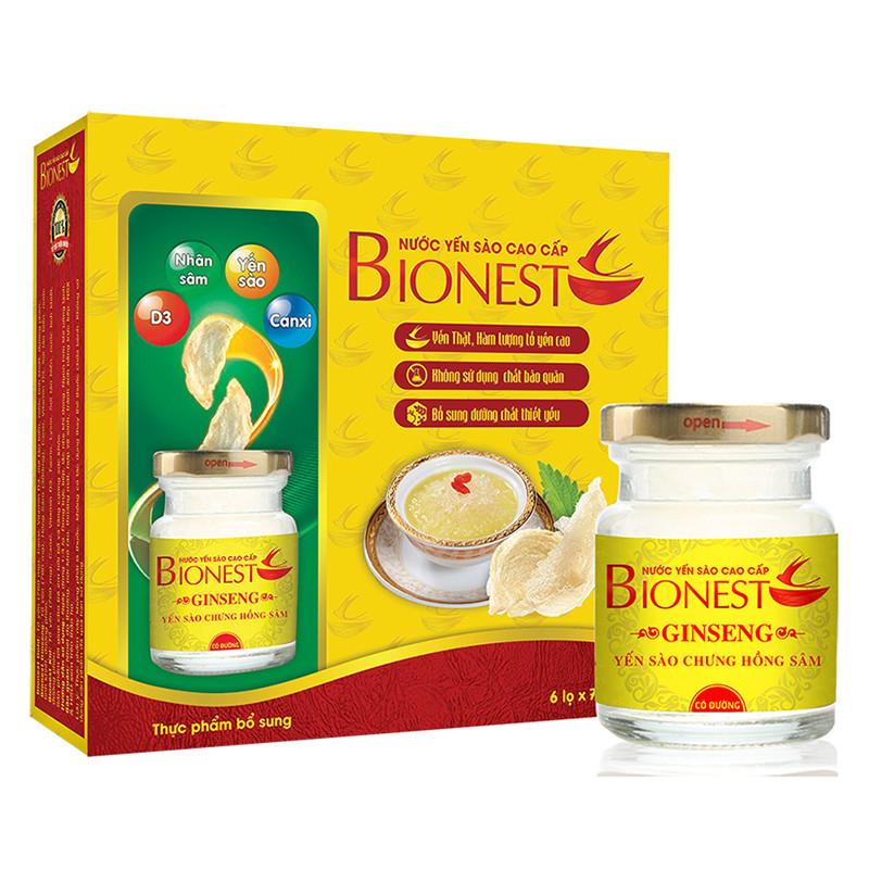 Bộ 6 hộp Yến sào Bionest Ginseng hồng sâm cao cấp - hộp tiết kiệm 6 lọ