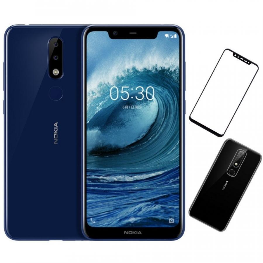 Bộ Điện thoại Nokia X5 (64GB/4GB) (Xanh) + Dán cường lực 5D full màn (Đen) + Ốp lưng - Hàng nhập khẩu