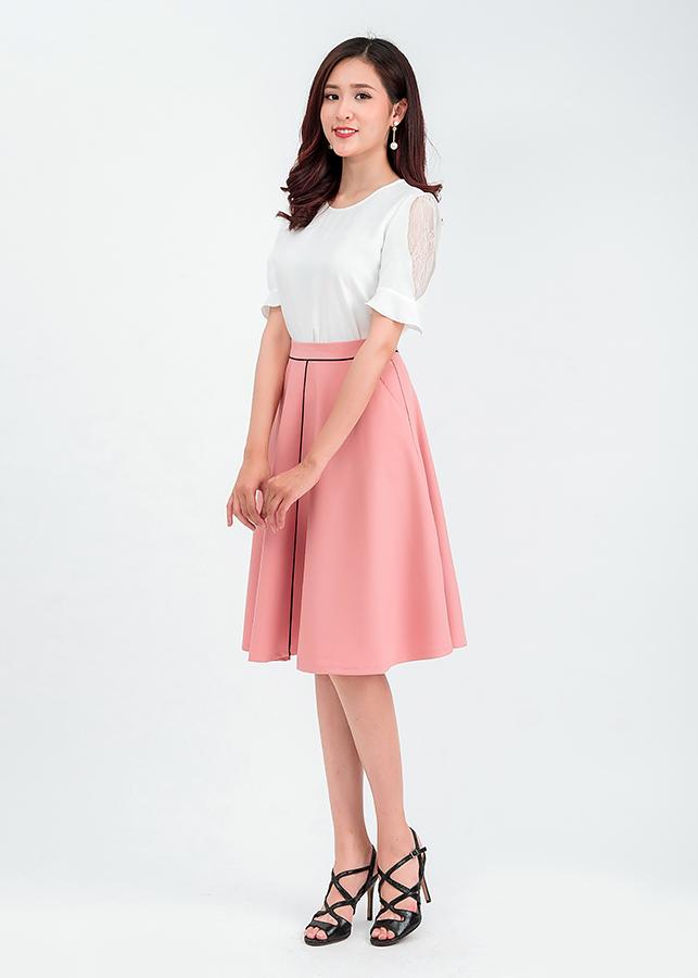 Set áo sơ mi tay phối ren chân váy midi 50401 – 48201