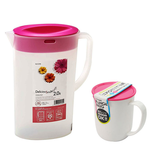 Combo bình nước 2 lít - nắp màu hồng + cốc uống nước có nắp 300ml nội địa Nhật Bản