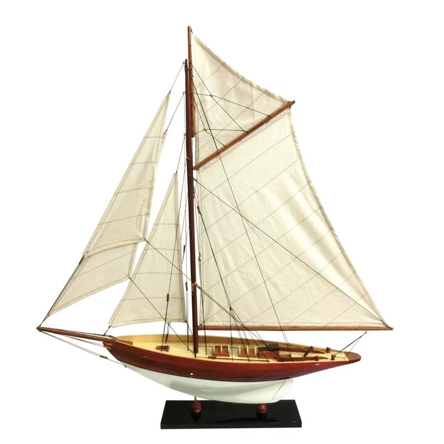 Mô hình du thuyền đua gỗ Penduick (thân 50cm - sơn trắng/gỗ)