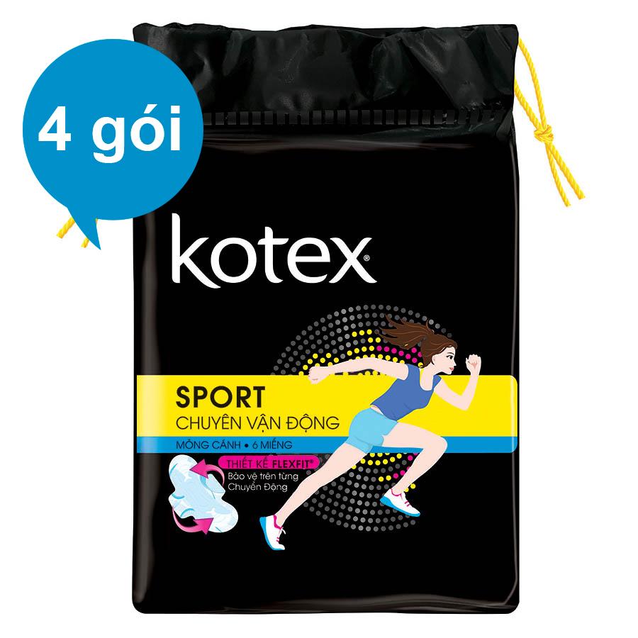 Bộ 4 Gói Kotex Sport Siêu Mỏng Cánh - Tặng Kotex Hàng Ngày Hương Tự Nhiên KK 10