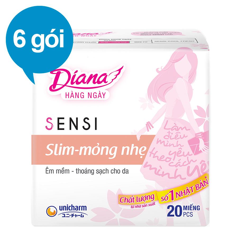Combo 6 Băng Vệ Sinh Hàng Ngày Diana Sensi Slim Mỏng Nhẹ (Gói 20 Miếng)