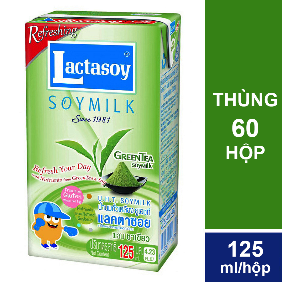 Thùng 60 Hộp Sữa Đậu Nành Lactasoy Trà Xanh (125ml/ Hộp)