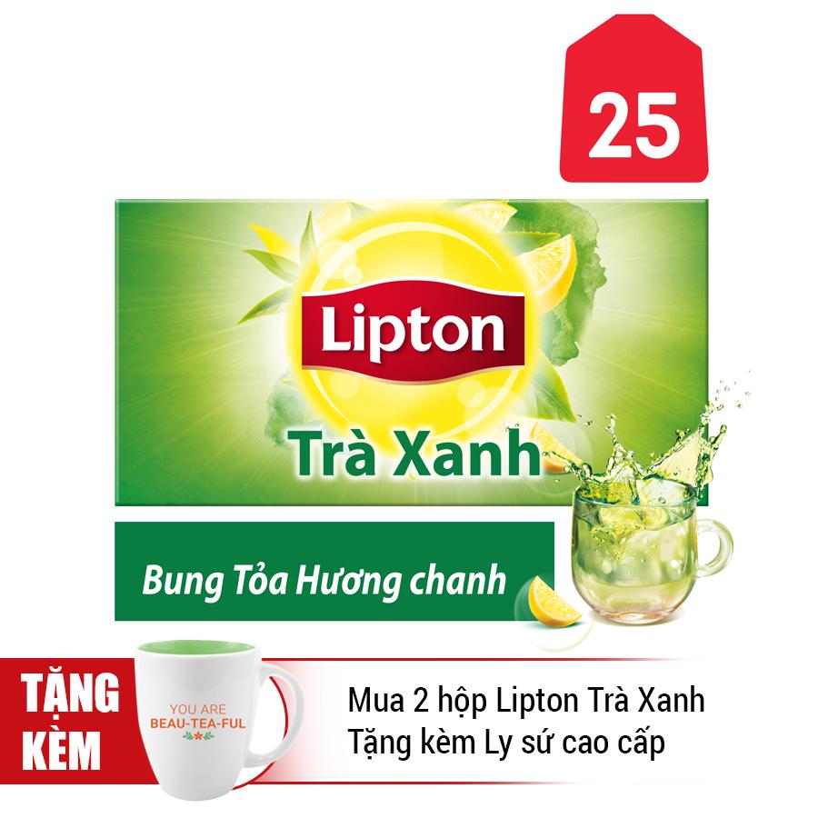 Hộp 25 Gói Lipton Trà Xanh Hương Chanh (Gói 1.2g)