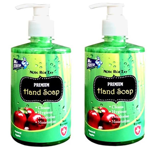 Bộ 2 Chai Nước rửa tay Premium Mr Fresh Hàn Quốc 500ml Hương Táo Mỹ