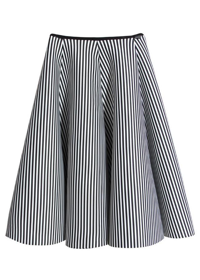 Chân váy xếp ly sọc cao cấp đen - CV046